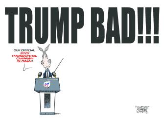 Political Cartoon U.S. Democrats Trump DNC campaign platform