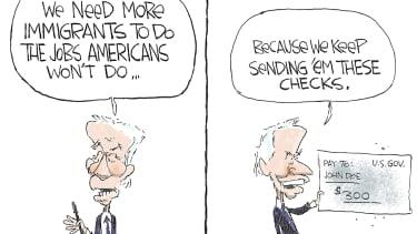 Political Cartoon U.S. biden unemployment checks