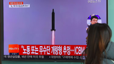 A South Korean news report on a North Korean missile launch