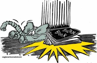 Political Cartoon U.S. Trump Bolton book GOP