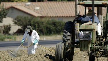 Farmers spray pesticides in California.