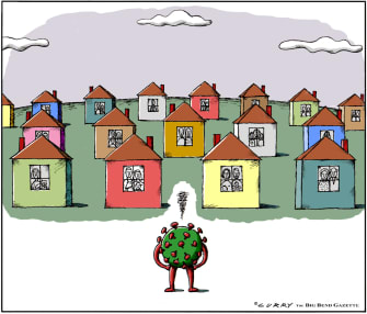 Editorial Cartoon U.S. Coronavirus Shelter in Place America homes quarantine virus