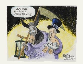 Political Cartoon U.S. Democrats Joe Biden 2020