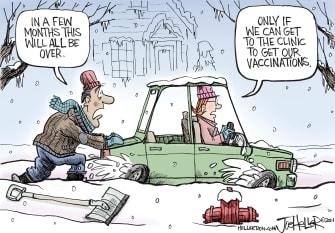 Editorial Cartoon U.S. snow covid vaccine