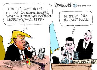 Political Cartoon U.S. Trump Ukraine Volodymyr Zelensky 2020 election polls