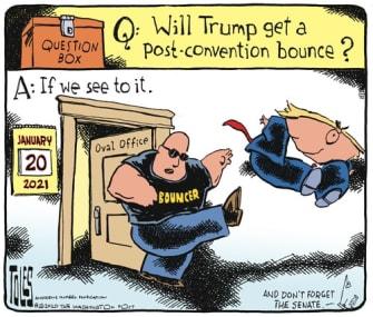Political Cartoon U.S. Election convention bounce 2020