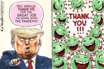 Political Cartoon U.S. Trump coronavirus thanks