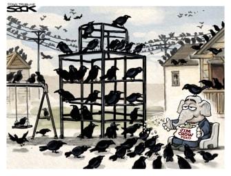 Political Cartoon U.S. gop jim crow voter suppression