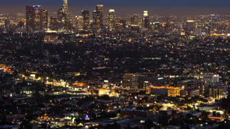Downtown Los Angeles at night in 2013.