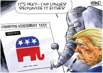 Political Cartoon U.S. Trump GOP cognitive test