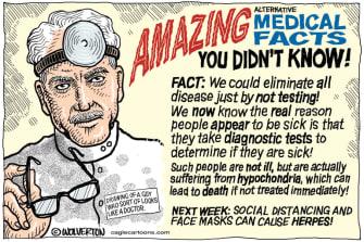 Editorial Cartoon U.S. alternative medical facts Trump coronavirus testing