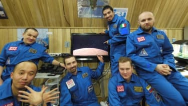 The six volunteers of Russia's 520-day endurance mission simulation.