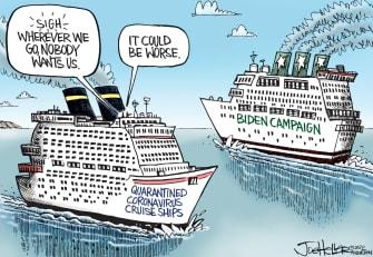 Political Cartoon U.S. Joe Biden Coronavirus DNC quarantined ship democratic primaries