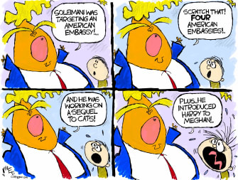 Political Cartoon U.S. Trump Iran lies Harry Meghan Megxit Cats