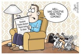 Political Cartoon U.S. biden keystone xl