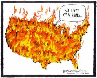 Editorial Cartoon U.S. America flames George Floyd protests tired of winning