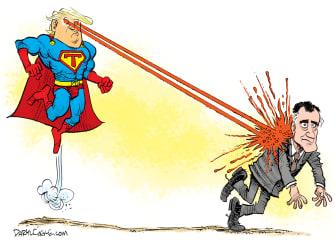 Political Cartoon U.S. Superman Trump Romney zap