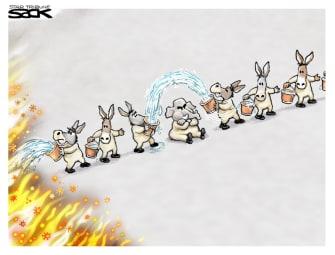 Political Cartoon U.S. democrats gop covid stimulus