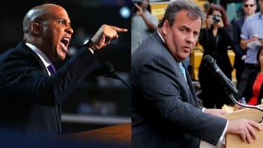 Cory Booker and Gov. Chris Christie