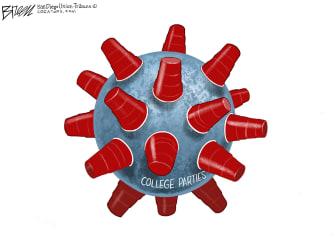 Editorial Cartoon U.S. covid college parties