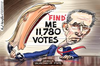 Political Cartoon U.S. Trump Raffensperger Georgia