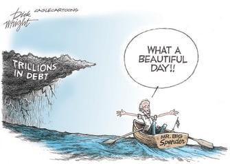 Political Cartoon U.S. biden debt spending