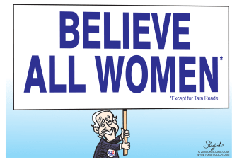 Political Cartoon U.S. believe women except for Tara Reade accuses Biden