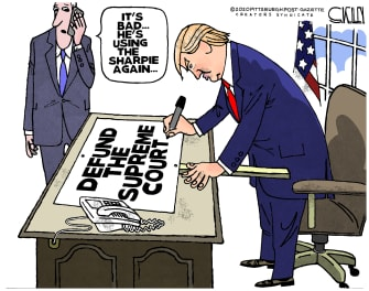 Political Cartoon U.S. Trump supreme court sharpie