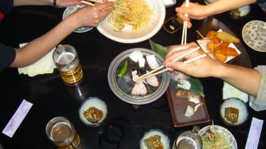 Dinner with chopsticks
