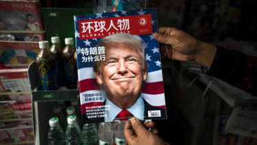 A copy of the local Chinese magazine Global People with a cover story about President Donald Trump.