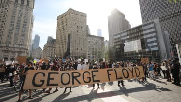 Hundreds of protesters gather in Manhattan's Foley Square to protest the recent death of George Floyd