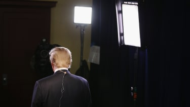 Donald Trump prepares for a live TV interview.