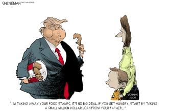 Political Cartoon U.S. Trump Food Stamps SNAP Money