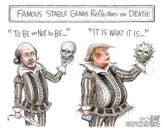Political Cartoon U.S. Trump Axios interview coronavirus death