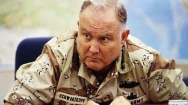 Gen. H. Norman Schwarzkopf during an interview in 1990. Schwarzkopf died Thursday at 78.