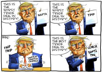 Political Cartoon World USMCA Best Trade Deal