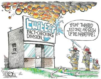 Editorial Cartoon U.S. Trump Twitter fact check