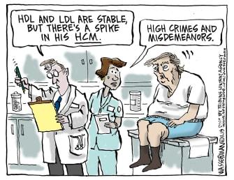Political Cartoon U.S. Trump impeachment Physical Spike in High Crimes and Misdemeanors