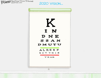 Editorial Cartoon World 2020 Vision Eye Exam