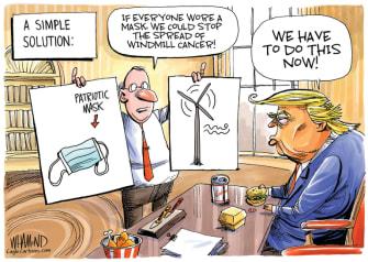 Political Cartoon U.S. Trump masks windmills coronavirus