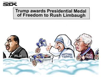 Political Cartoon U.S. Trump Medal of Freedom trashed Rush Limbaugh