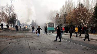 The aftermath of a car bomb attack in Kayseri, Turkey