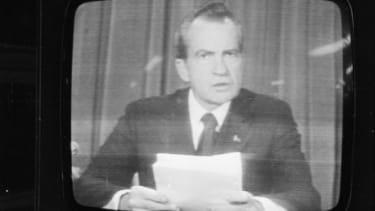 Nixon announces his resignation on national television on Aug. 8, 1974.