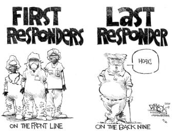 Political Cartoon U.S. Trump coronavirus first responders