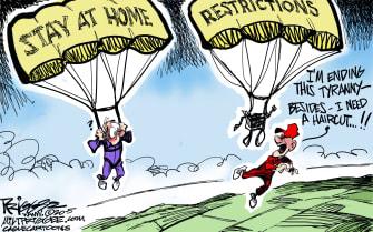 Political Cartoon U.S. Trump supporter anti lockdown protest coronavirus
