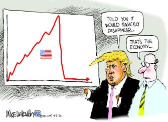 Political Cartoon U.S. Trump economy coronavirus