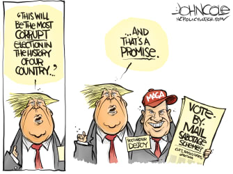 Political Cartoon U.S. Trump Corrupt Election Vote by Mail