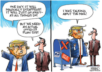 Political Cartoon U.S. Trump USPS 2020 election covid