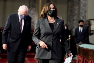 Vice President Kamala Harris breaks a tie