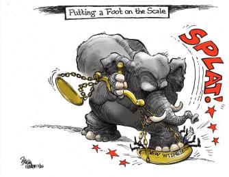 Political Cartoon U.S. GOP unbalanced scale witnesses impeachment